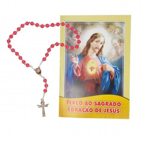 Terço com folheto Sagrado Coração de Jesus