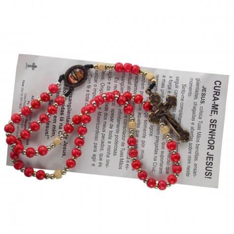 Terço com Oração Mãos Ensanguentadas de Jesus