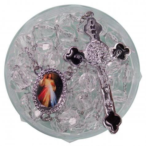 Terço de Acrílico Cristal com foto de Santos Diversos