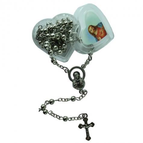 Terço Prata de Sagrado Coração de Jesus com Embalagem