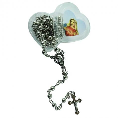 Terço Prata de Sagrado Coração de Maria com Embalagem