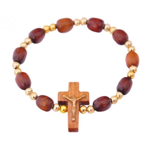 Pulseira em Madeira com Crucifixo - Dourado Pequeno