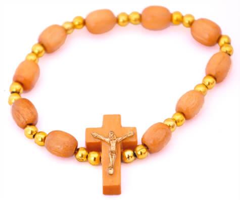Pulseira em Madeira com Crucifixo - Pequeno