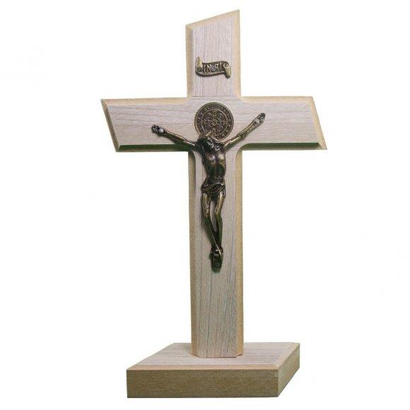 Crucifixo de Madeira - Medalha de São Bento - 36 x 19
