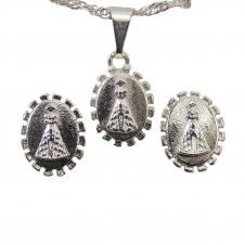 Imagem - Conjunto de Brinco e Colar Nossa Senhora Aparecida Folheado cód: 16248133-8