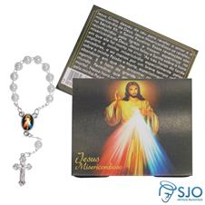 Cartão com Mini Terço de Jesus Misericordioso