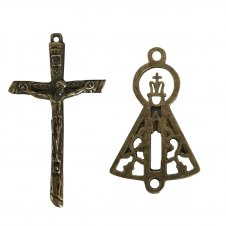 Imagem - KIT Cruz de Metal Fina Jesus  + Entremeio Nos cód: KCDMFJENSAG