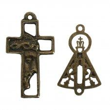 Imagem - KIT Cruz de Metal Rosto de Jesus + Entremeio  cód: KCDMRDJENSAPG