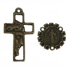 Imagem -  KIT Cruz de Metal Rosto de Jesus + Entremeio cód: KCMRJESBP