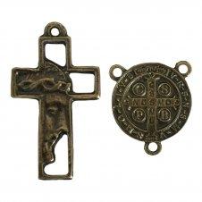 Imagem - KIT Cruz de Metal Rosto de Jesus + Entremeio  cód: KCDMRDJESB