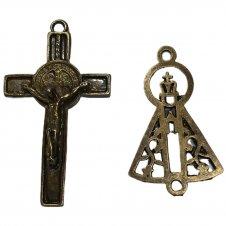 Imagem - KIT Cruz de Metal Inri Jesus Mod.2 + Entremeio Nossa Senhora Aparecida cód: KCMIJM2ENSA
