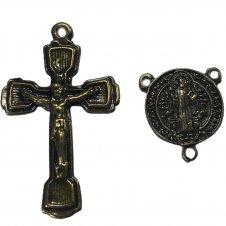 Imagem - KIT Cruz de Metal Jesus + Entremeio São Bento Mod.15 cód: 97332336I