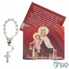 100 Cartões com Mini Terço de Nossa Senhora do Carmo