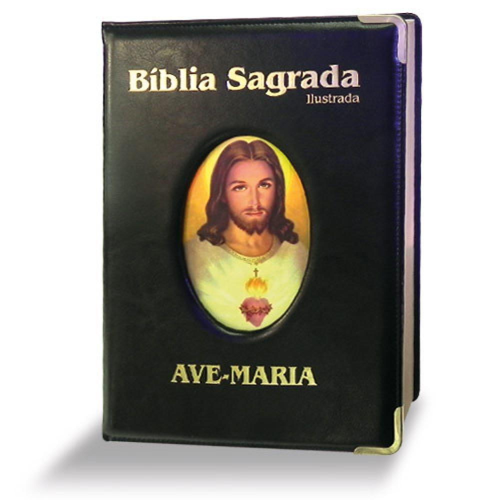 Imagem - Bíblia Ilustrada Luxo - Grande - Preta cód: 7898140421624_1