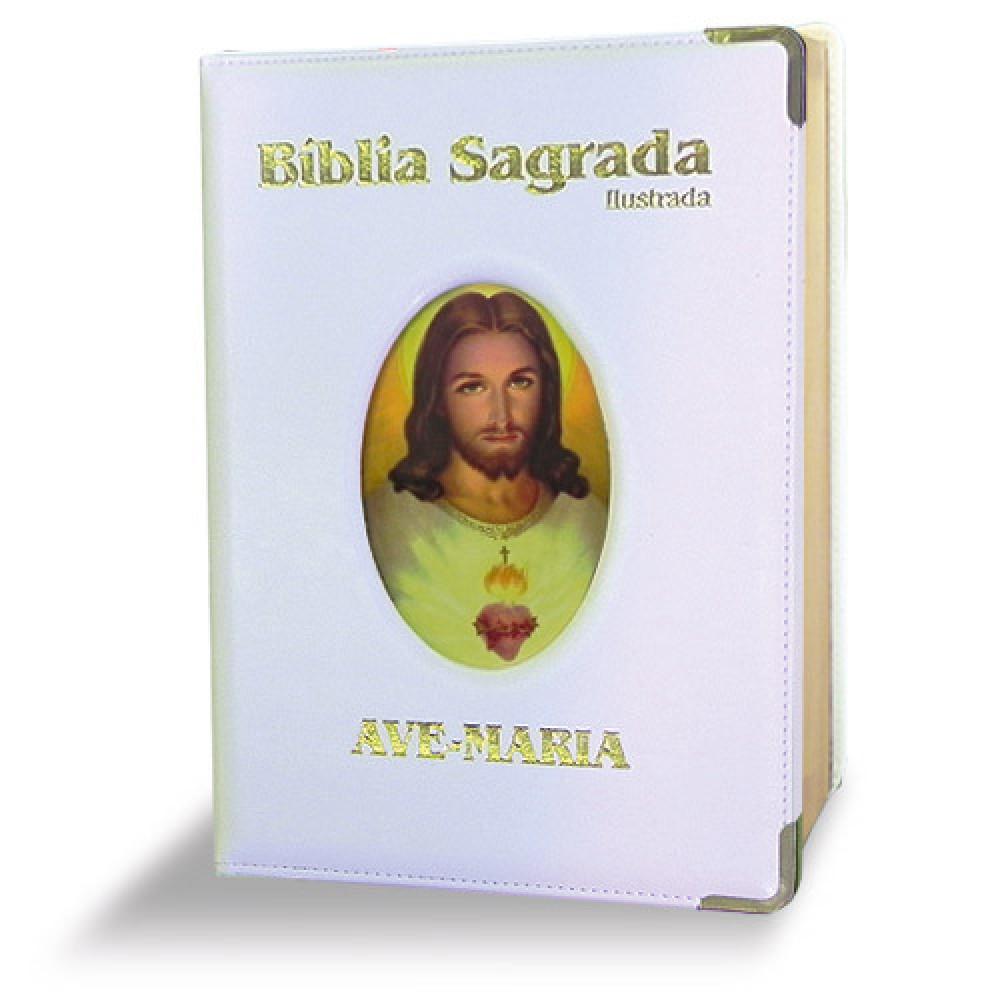 Imagem - Bíblia Ilustrada Luxo - Grande - Branca cód: 7898140423284_1