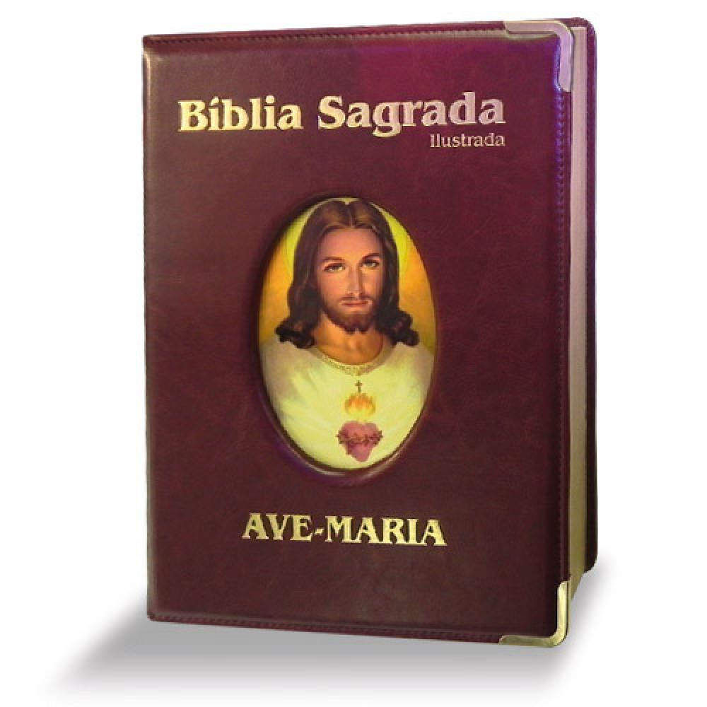 Imagem - Bíblia Ilustrada Luxo - Grande - Marrom cód: 7898140423291_1