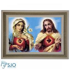 Quadro Religioso Sagrado Coração de Jesus e Maria - 70 x 50 cm