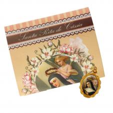 Imagem - Cartão com Medalha de Santa Rita de Cássia cód: 12831256