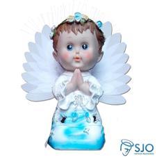 Anjo com Luz e Oração - 25 cm Azul