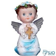 Anjo com Asa de Acrílico e Oração - 15 cm