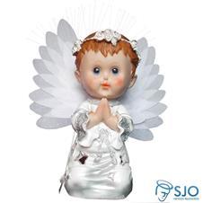 Anjo com Luz e Oração - 25 cm Prata