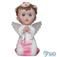 Anjo com Asa de Acrílico e Oração - 20 cm