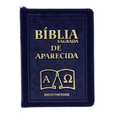 Imagem - Bíblia Sagrada de Aparecida com Capa de Ziper na cor Azul e Índice Vermelho cód: 10392575