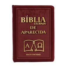 Bíblia Sagrada de Aparecida com Capa de Ziper na cor Bordo e Índice Dourado