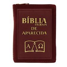 Imagem - Bíblia Sagrada de Aparecida com Capa de Ziper Simples na cor Bordo cód: 19298686