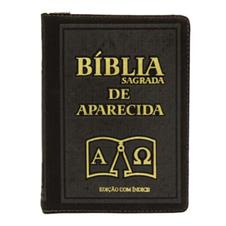 Bíblia Sagrada de Aparecida com Capa de Ziper na cor Marrom e Índice Dourado