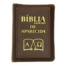Imagem - Bíblia Sagrada de Aparecida com Capa de Ziper Simples na cor Marrom cód: 17939734
