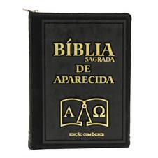 Imagem - Bíblia Sagrada de Aparecida com Capa de Ziper na cor Preta e Índice Dourado cód: 18951938