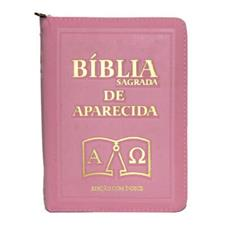 Imagem - Bíblia Sagrada de Bolso Aparecida com Capa de Ziper na cor Rosa cód: 19546398