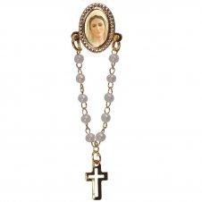 Imagem - Botton com Mini Terço Nossa Senhora Rainha da Paz cód: 17160276