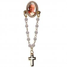 Imagem - Botton com Mini Terço Papa João Paulo II 16074907