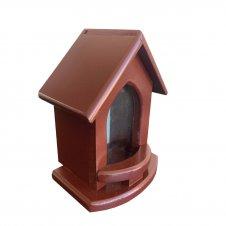 Imagem - Capela de Madeira Vinho com Vidro - 18 cm cód: H010
