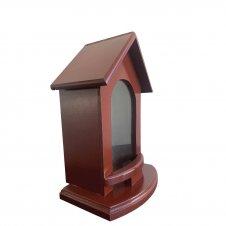 Imagem - Capela de Madeira Vinho com Vidro - 30 cm cód: H020