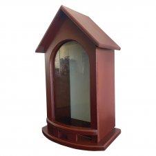 Imagem - Capela de Madeira Vinho com Vidro - 40 cm cód: H025