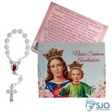 Cartão com Mini Terço de Nossa Senhora Auxiliadora
