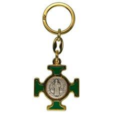 Chaveiro Italiano Dourado Cruz Malta de São Bento
