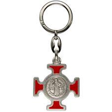 Imagem - Chaveiro Italiano Prata Cruz Malta de São Bento cód: 18544867-5