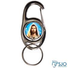 Chaveiro Mosquetão Giratório Face de Cristo