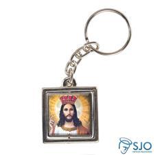 Chaveiro Quadrado Giratório do Cristo Rei