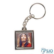 Chaveiro Quadrado Giratório da Face de Cristo