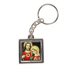 Chaveiro Quadrado Giratório Sagrado Coração de Jesus e Maria