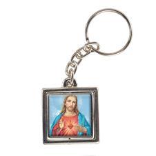 Imagem - Chaveiro Quadrado Giratório Sagrado Coração de Jesus - Modelo 1 - 16964589