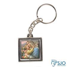 Imagem - Chaveiro Quadrado Giratório de Nossa Senhora do Bom Parto cód: 15755146