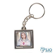 Imagem - Chaveiro Quadrado Giratório de Nossa Senhora da Chama do Amor cód: 15501246