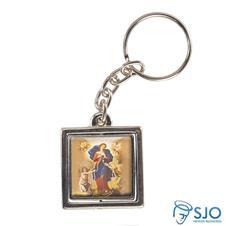 Imagem - Chaveiro Quadrado Giratório de Nossa Senhora Desatadora dos Nós cód: 13196294