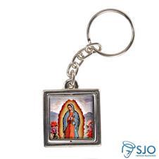Chaveiro Quadrado Giratório de Nossa Senhora de Guadalupe
